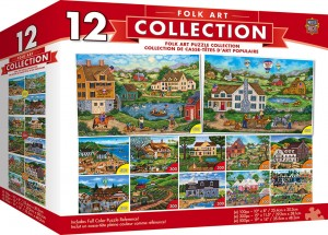 Master Pieces 12 x Puzzle - Folk Art (4x500 + 4x300 + 4x100)