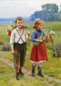 Gold Puzzle 500 - Cesar Pattein: Children on a Country Road