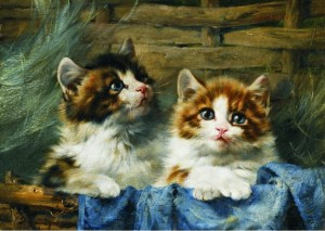 Gold Puzzle 500 - Julius Adam: Two Kittens in a Basket