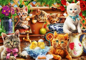 BlueBird Puzzle 1000 - Adrian Chesterman, Kittens in the Potting Shed