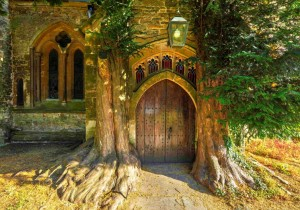 Grafika 1000 - Michael Whitefoot - St Edward's Parish Church north door flanked by yew trees
