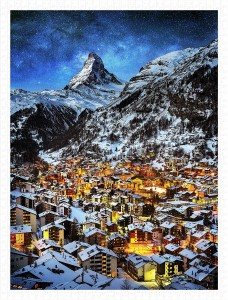 Pintoo 1200 Plastic Puzzle - Light of Zermatt, Switzerland