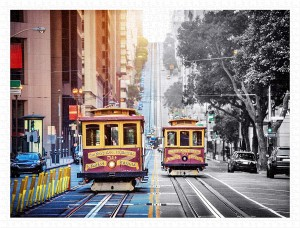 Pintoo 1200 Plastic Puzzle - Cable Cars on California Street, San Francisco