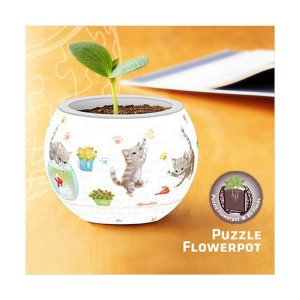 Pintoo 3D Puzzle 80 - Flower Pot - Cat's Play Time