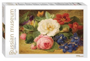 Step Puzzle 1000 - Russian Museum - Josef Lauer. Bouquet of Flowers with a Snail