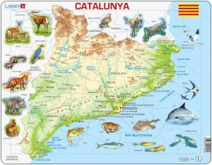 Larsen  60 - Frame Puzzle - Physical Map of Catalonia