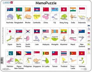 Larsen  54 - Frame Puzzle - The Flags and Capitals of 27 Countries in Asia and the Pacific