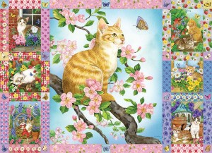 Cobble Hill / Outset Media 1000 - Blossoms and Kittens Quilt