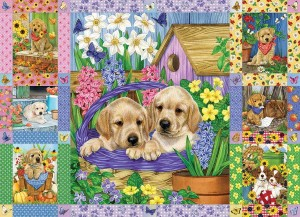 Cobble Hill / Outset Media 1000 - Puppies and Posies Quilt