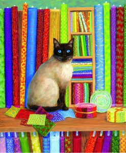 SunsOut 1000 - Linda Elliott - Quilt Shop Cat