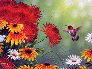 SunsOut 1000 - Abraham Hunter - Hummingbird and Red Flower