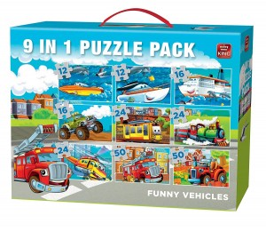 King International 9 Puzzles 12,16,24,50 - Funny Vehicles