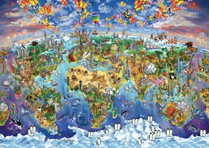 Art Puzzle 2000 - World Wonders Illustrated Map