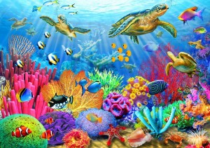 Bluebird Puzzle 1000 - Turtle Coral Reef