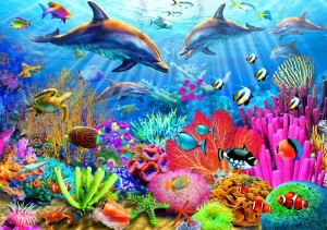 Bluebird Puzzle 1000 - Dolphin Coral Reef