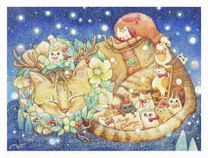 Pintoo 1200 Plastic Puzzle - Cotton Lion - Christmas Night & Cats