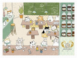 Pintoo 1200 Plastic Puzzle - Ms. Cat - Philosopher Cafe
