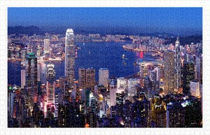 Pintoo 1000 Plastic Puzzle - Aerial view of Hong Kong Victoria Harbor at night