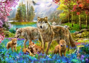 Bluebird Puzzle 1500 - Spring Wolf Family