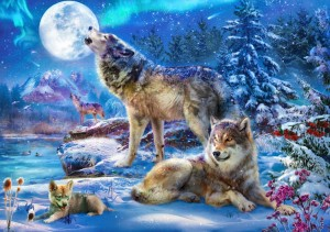 Bluebird Puzzle 1500 - Winter Wolf Family