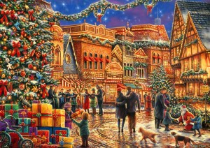 Bluebird Puzzle 2000 - Chuck Pinson, Christmas at the Town Square