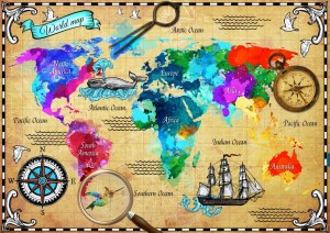 Bluebird Puzzle 2000 - Colorful World Map