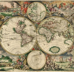 Grafika 1500 - World Map, Produced in Amsterdam, 1689 (Mapa świata, wyprodukowana w Amsterdamie)
