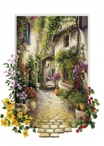 Art Puzzle 500 - Pretty Lane of a Small Flowery Village