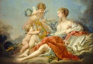 Grafika 1000 - François Boucher : Allegory of Music, 1764 (Alegoria muzyki)
