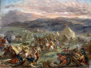 Grafika 2000 - Delacroix Eugène: Botzaris surprises the camp of the Turks at sunrise, 1860-62