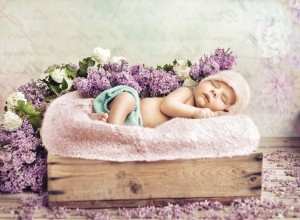 Grafika 2000 -  Konrad Bak: Baby sleeping in the Lilac