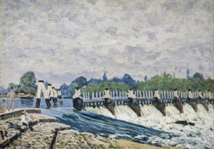Grafika 1000 - Alfred Sisley: Molesey's Spillway in the Morning, 1874 ( Alfred Sisley: Jaz Moleseyów rano )