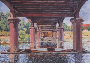 Grafika 1000 - Alfred Sisley: Under the Hampton Court Bridge, 1874 ( Alfred Sisley: Pod mostem Hampton Court )