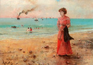 Grafika 1000 - Alfred Stevens: Young Woman with Red Sunshade by the Sea, 1885 ( Alfred Stevens: Młoda kobieta z czerwonym parasolem nad morzem )