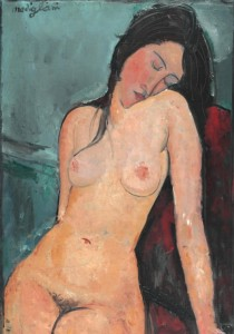 Grafika 1000 - Amedeo Modigliani: Seated nude woman, 1916 ( Amedeo Modigliani: Siedząca naga kobieta )